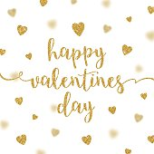 Valentines greeting card - glitter gold calligraphy