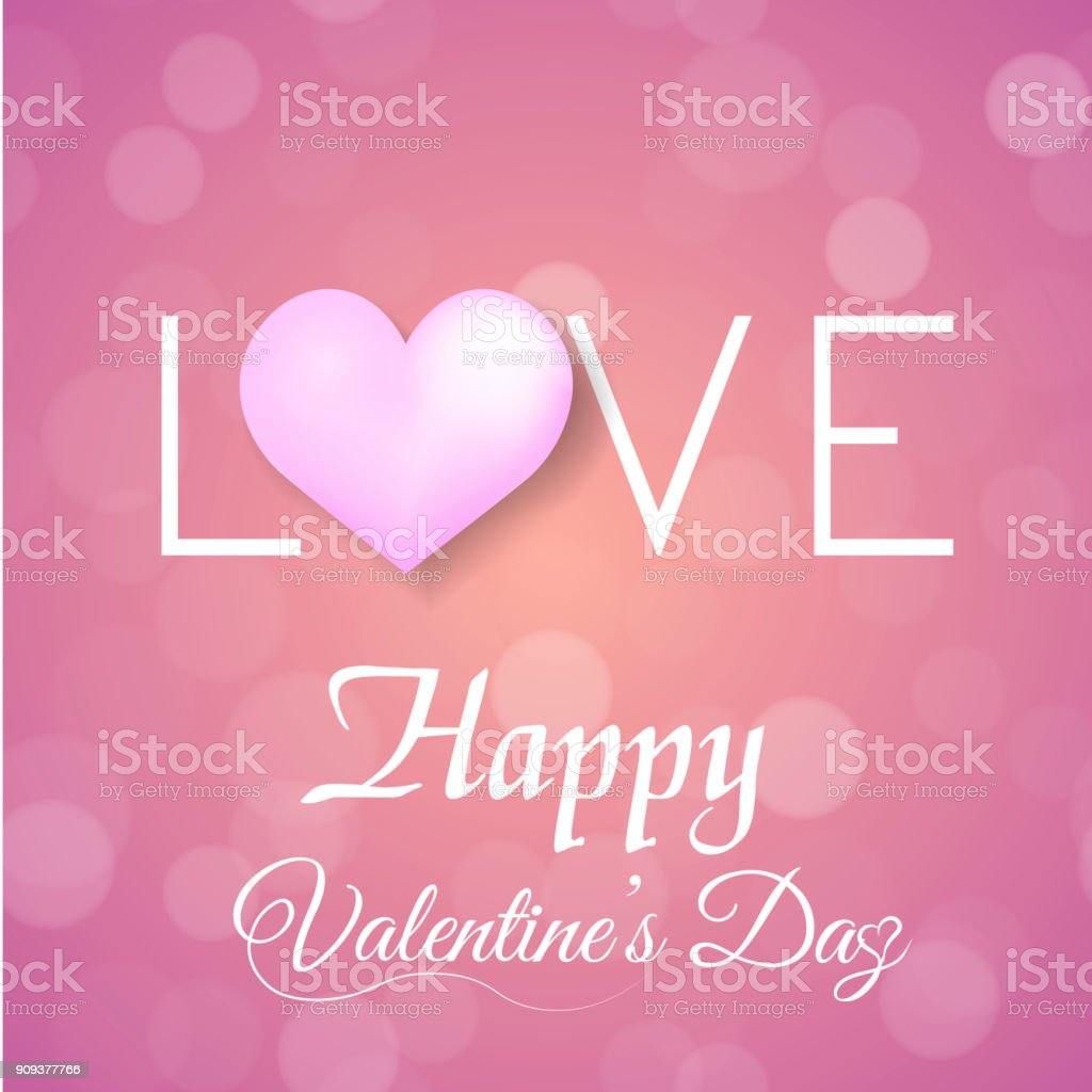Valentines Greeting Card With Defocused Dots Pink Balloon And Pink