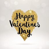 Valentines greeting card with glitter gold heart