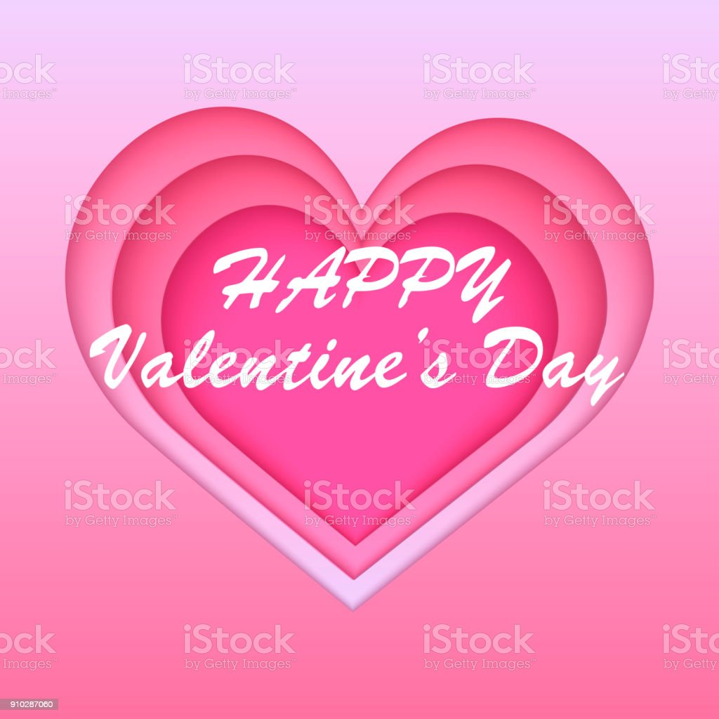 Valentines Greeting Card With Paper Cut Out Pink Heart Vector Stock