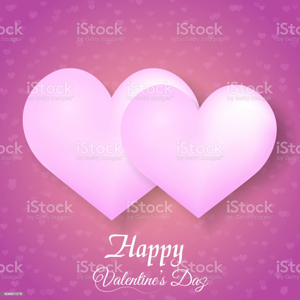 Valentines Greeting Card With Pink Balloon Hearts On Pink Background