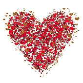 Valentines heart made from music notes - abstract design. Valentine card, red heart on white background,