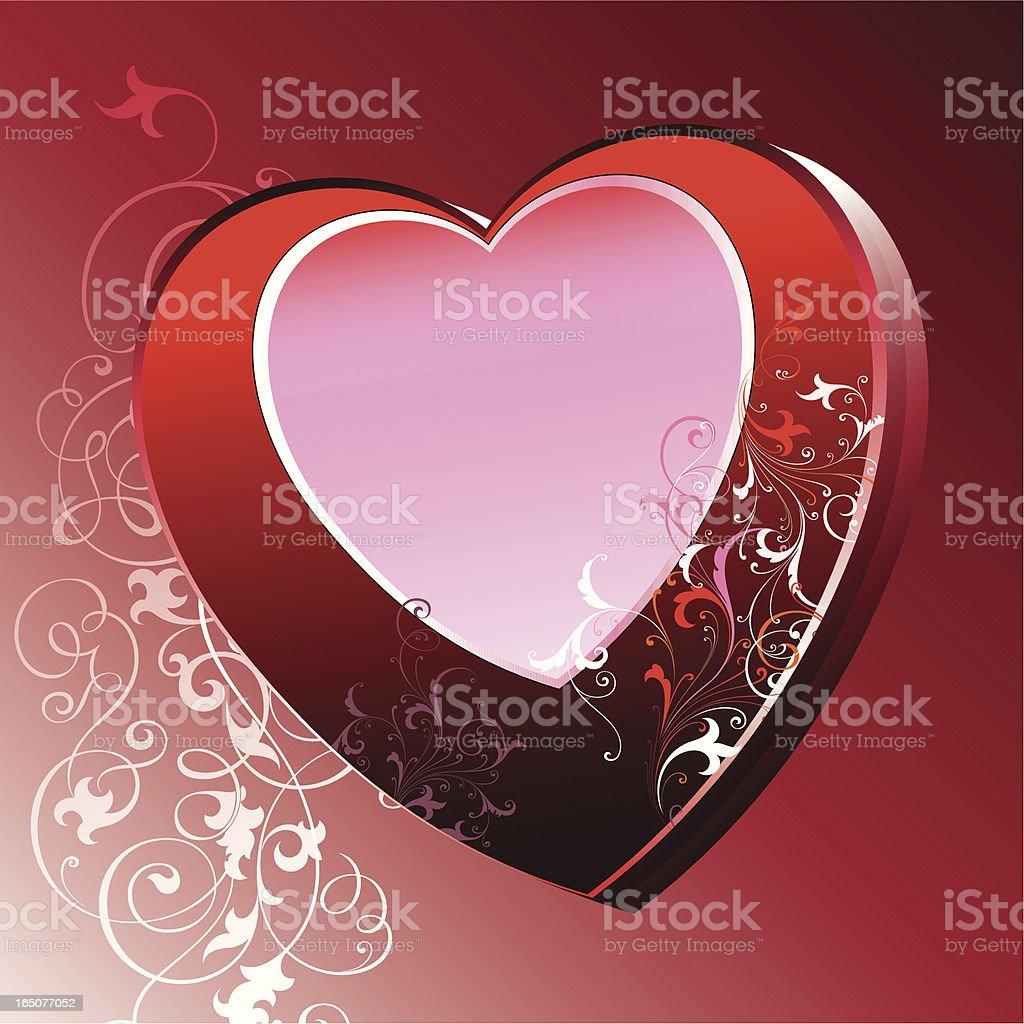 Valentines Heart Scrolls vector art illustration