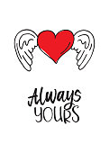 Valentine's heart with wings. Always yours
