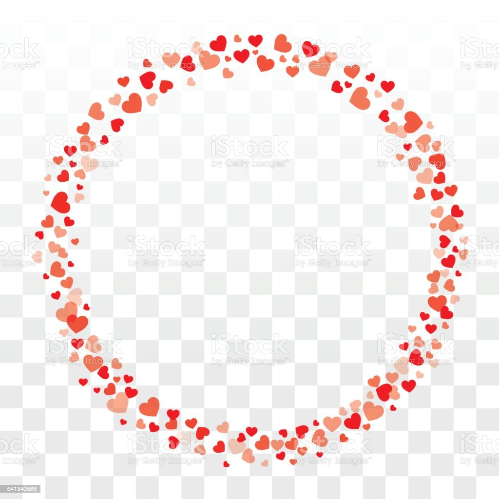 Valentines Hearts Wreath On Transparent Background With Copy Space  Royalty Free Stock Vector Art