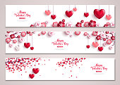 Happy Valentine's Day horizontal banners set. Vector illustration. Holiday brochure design for corporate greeting cards, love creative concept, gift voucher, invitation. Place for your text message. Valentine tree with hearts.