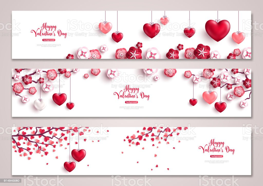 Valentines horizontal banners, tree with hearts vector art illustration