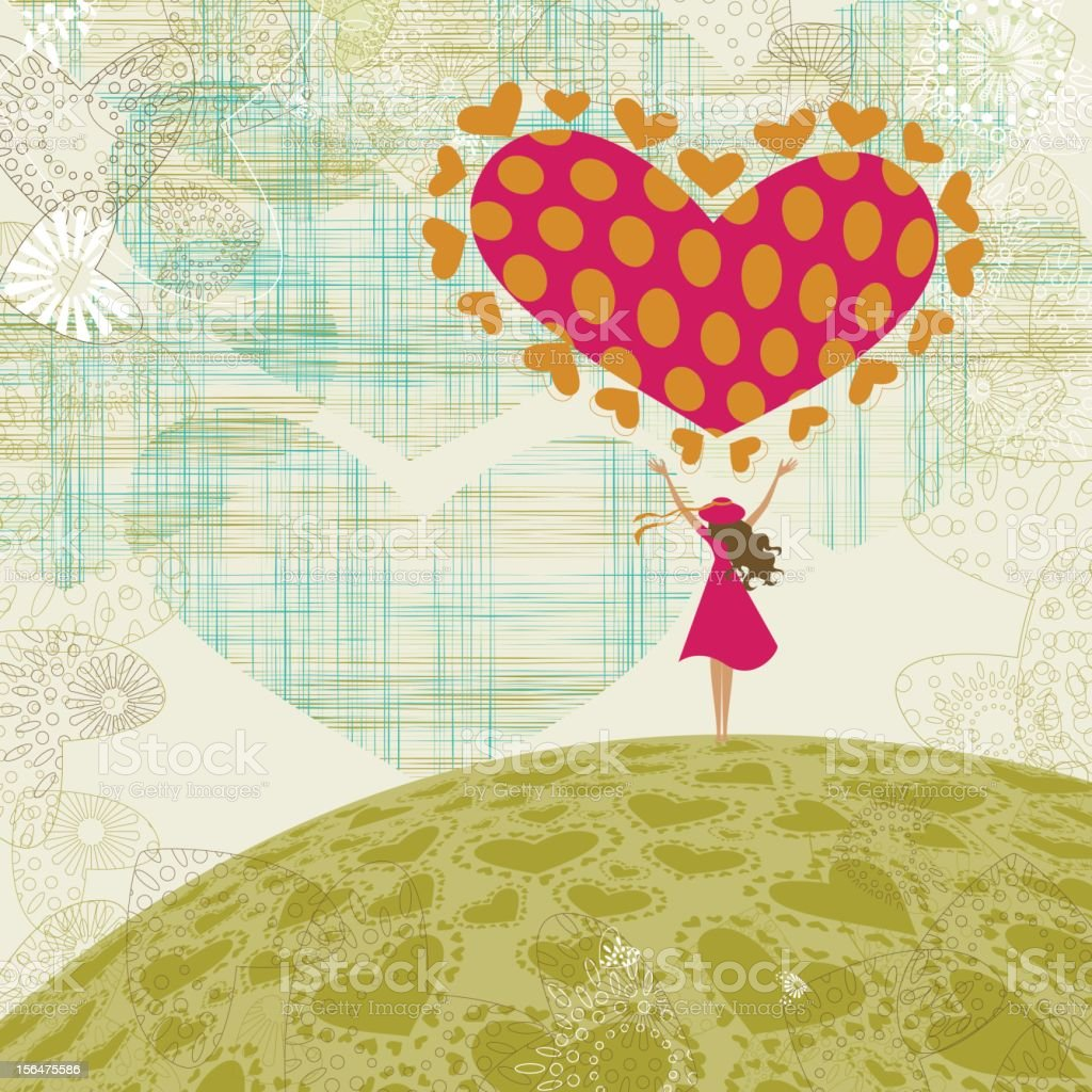 Valentine's landscape with girl and heart vector art illustration