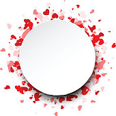 Valentine's round love background with hearts. Vector paper illustration.