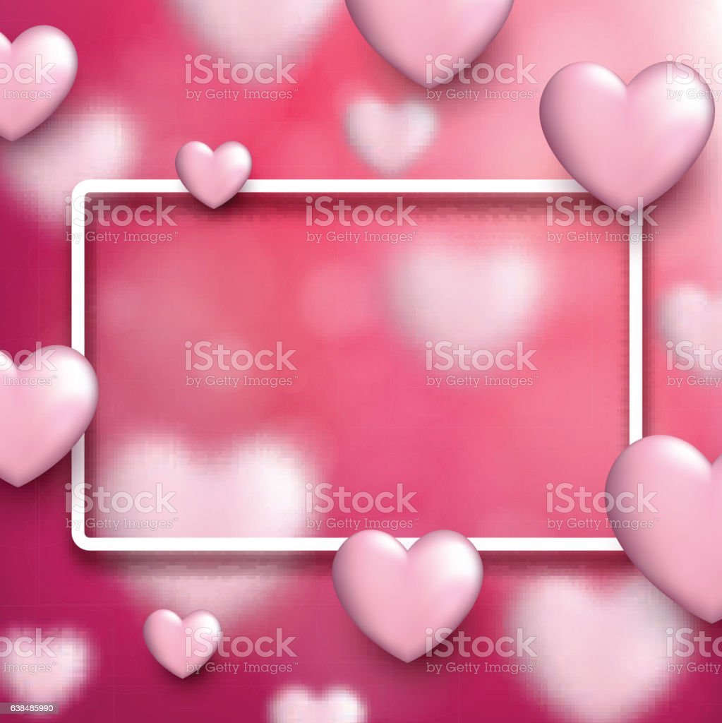 valentines love background with hearts 3dのベクターアート素材や