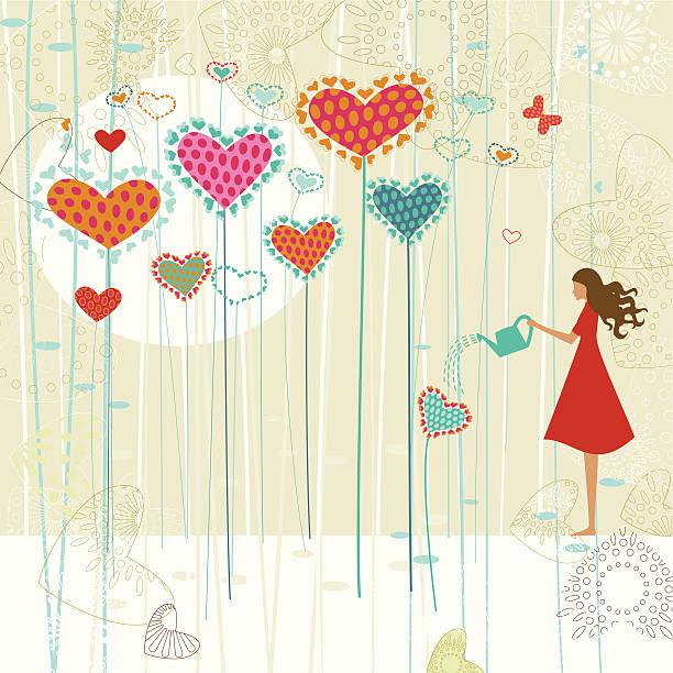Valentine's love garden vector art illustration