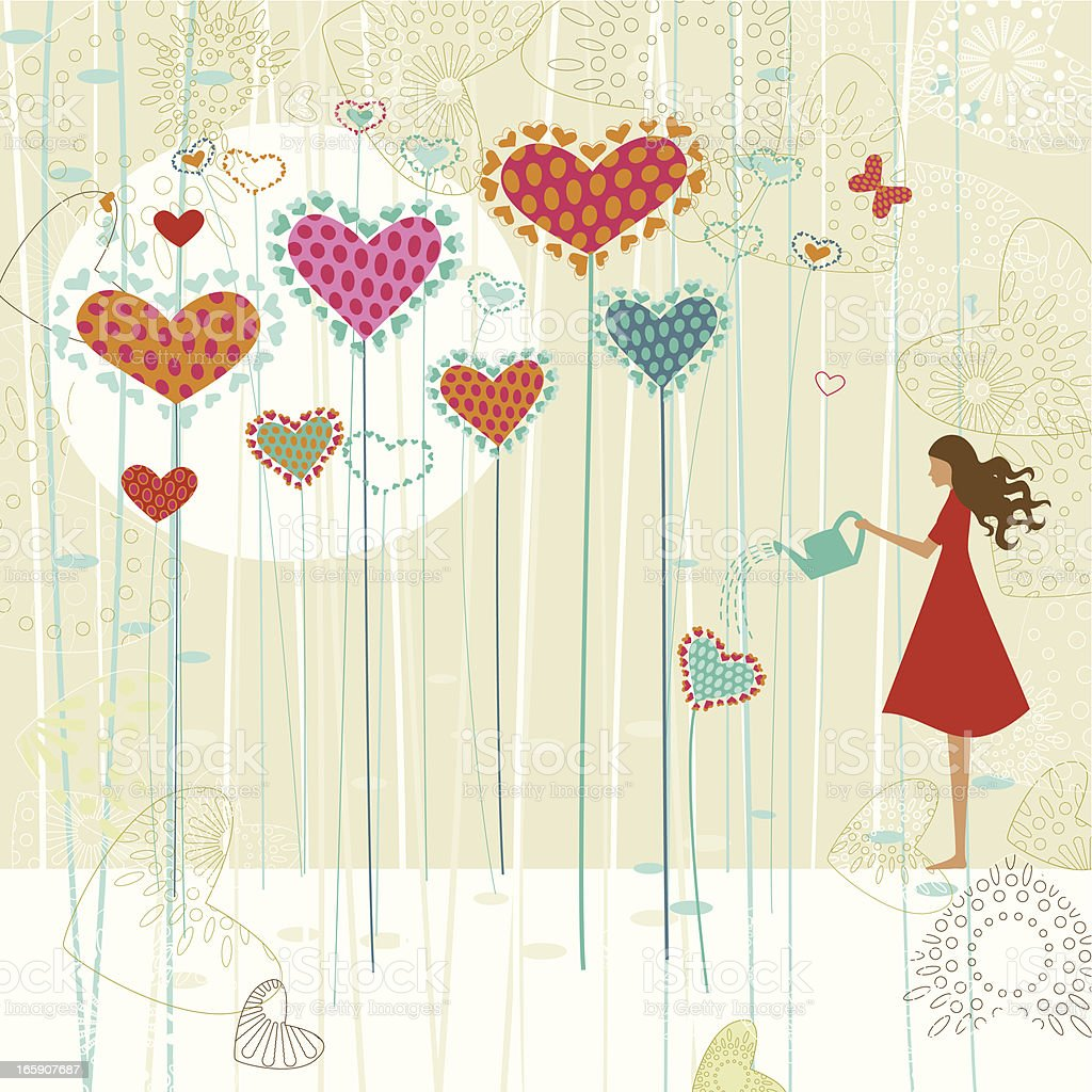 Valentine's love garden vector art illustration