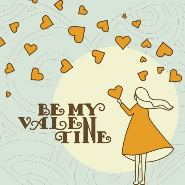 illustrazioni stock, clip art, cartoni animati e icone di tendenza di fornitore di san valentino amore cuori e ragazza - love word