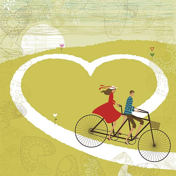 Valentine's love road vector art illustration