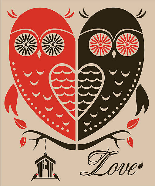 illustrazioni stock, clip art, cartoni animati e icone di tendenza di san valentino owls - love word