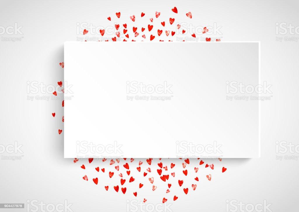 Valentines Papier Rahmen Mit Goldglitter Herzen Februar 14 Tag ...