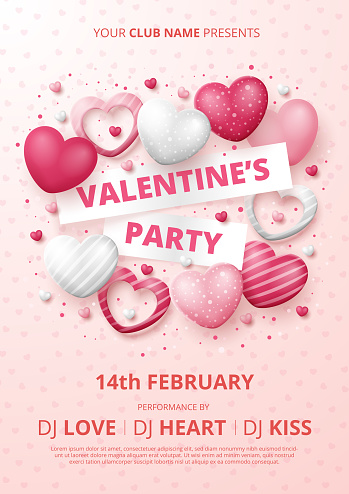 Valentine's party poster template with 3D hearts.