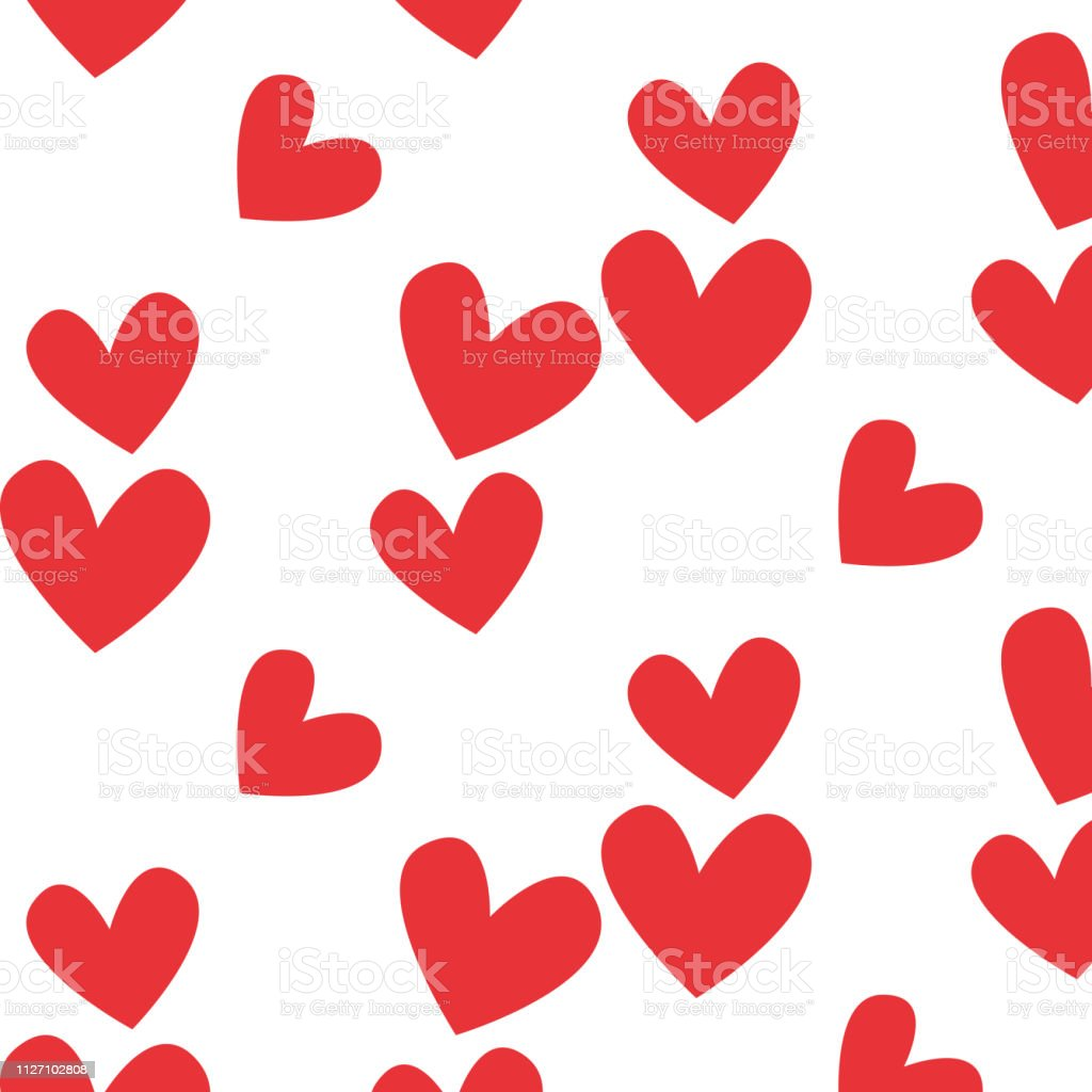 Valentines pattern with red heart. Vector design illustration