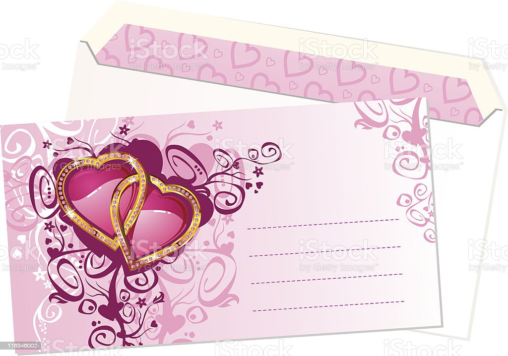 Valentine's postcard and envelope / vector royalty-free stock vector art