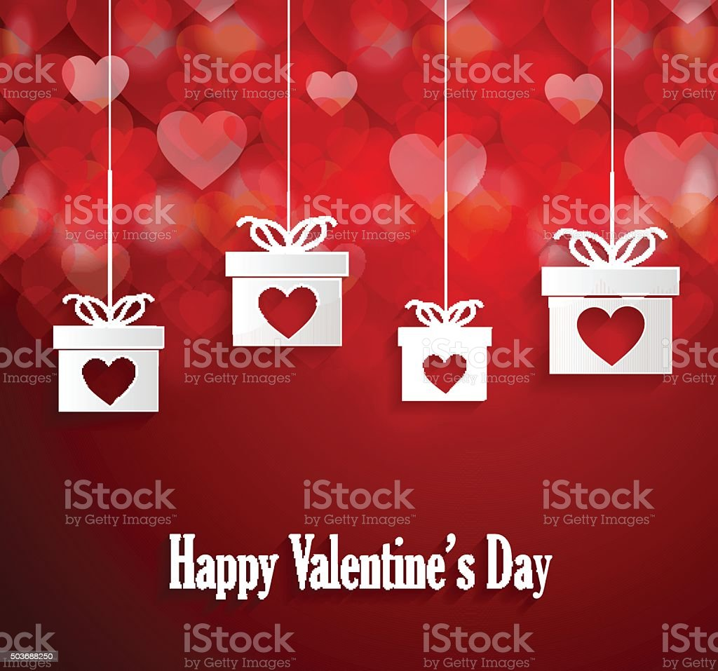 Valentines Poster With Hanging Gift Stock Vector Art More Images