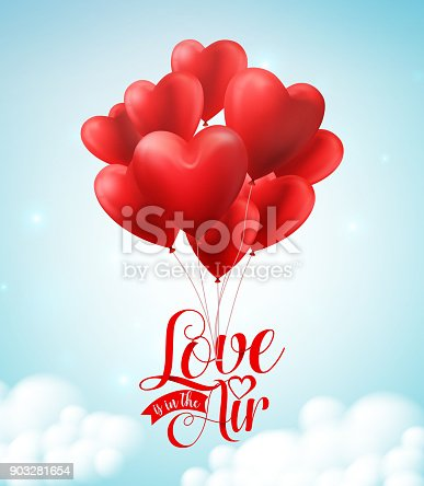 istock Valentines red heart balloons vector poster design with floating love text typography 903281654