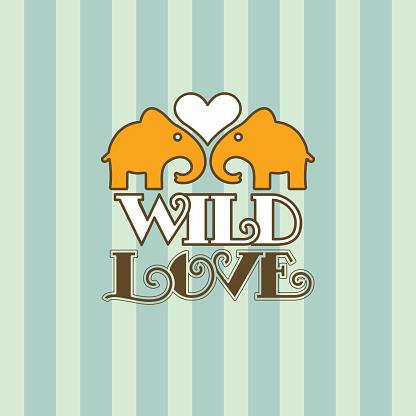 Valentine's retro card elephant love text
