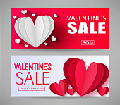 Valentines Sale Limited Time Only Red and White Promotional Banners with Paper Style Hearts in Gray Background.