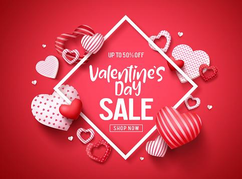 Valentines Sale Vector Banner Design Valentines Day Store Discount Promotion Template стоковая векторная графика и другие изображения на тему