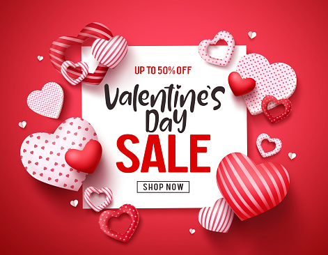 Valentines sale vector banner template. Valentines day store discount promotion