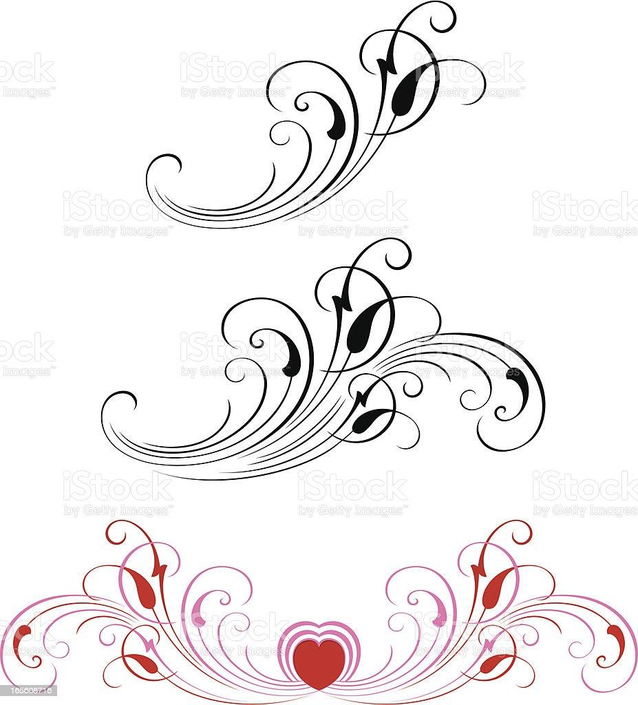 Valentines Scrolls vector art illustration