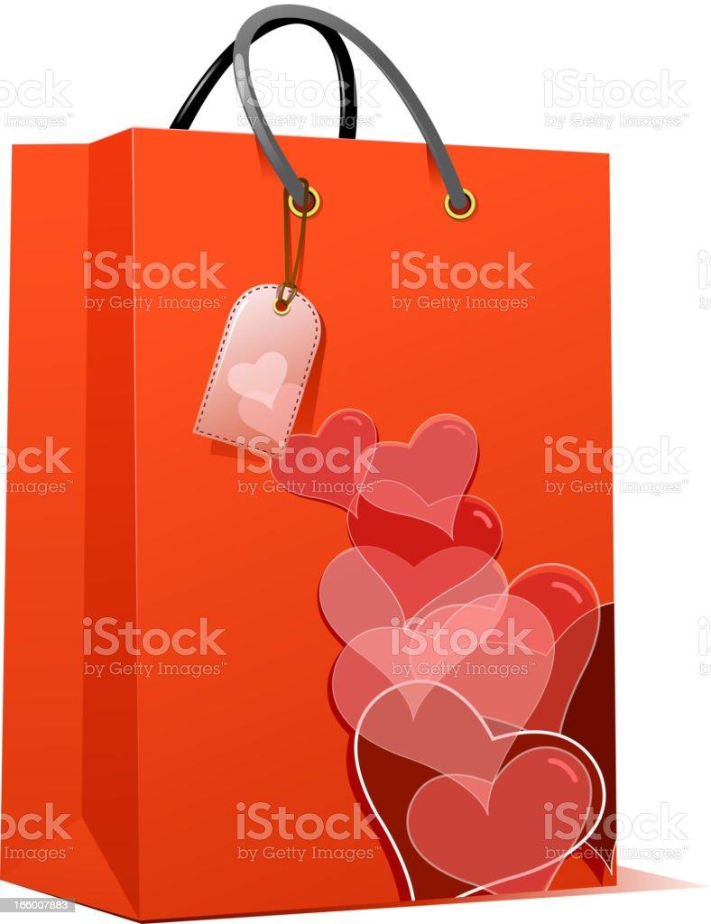 valentine's shopping bag royalty-free stock vector art