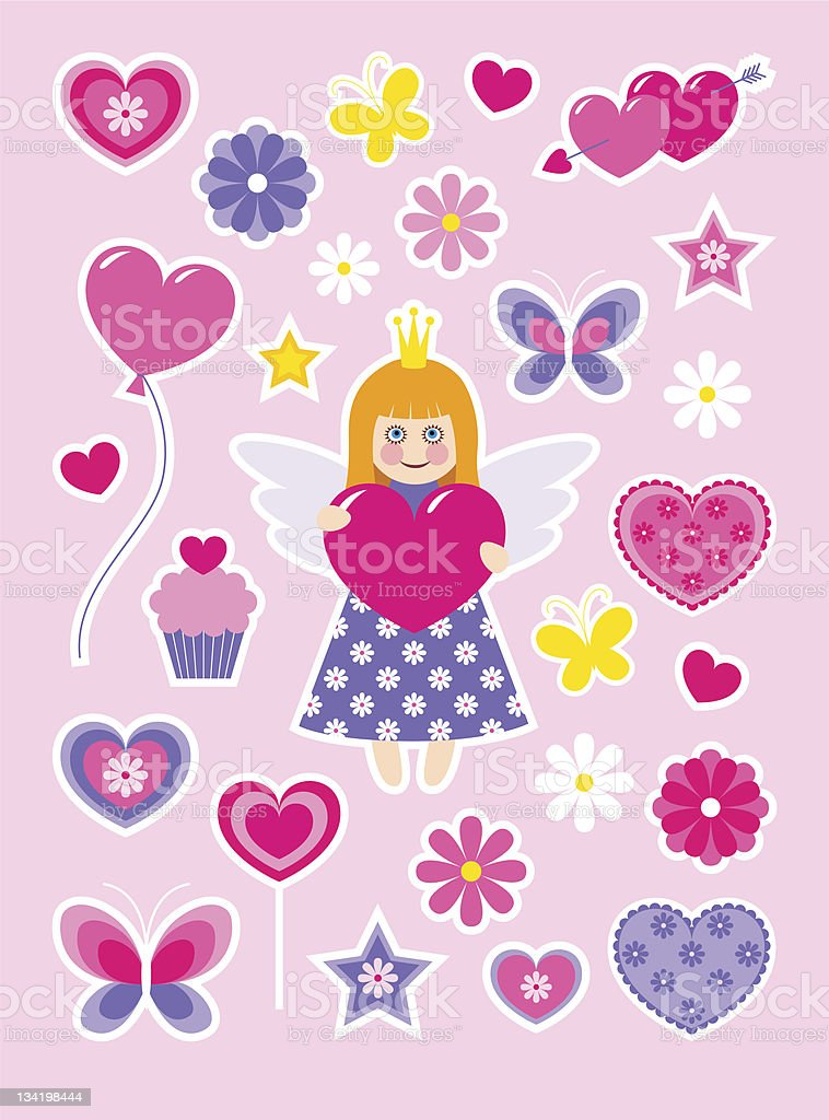 Valentines stickers royalty-free stock vector art