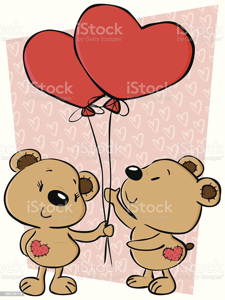 Valentine's Teddy Bears royalty-free valentines teddy bears stock vector art & more images of backgrounds