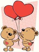 "Hand made ""Valentine's Teddy Bears"" drew on tablet."