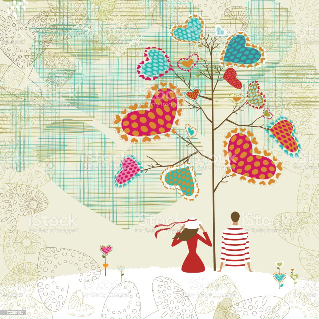Valentine's tree and couple royalty-free stock vector art