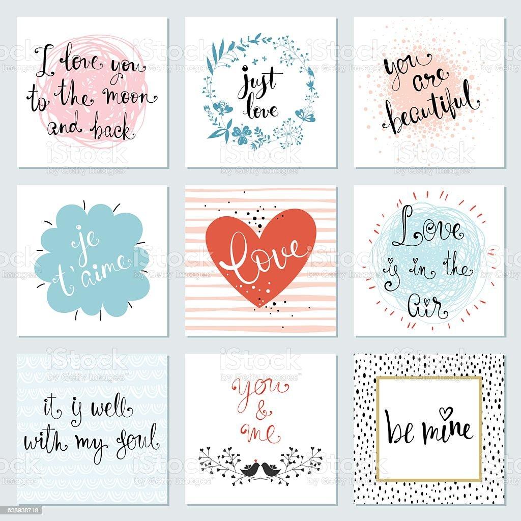 Valentines Typography Cards Set - Illustration vectorielle