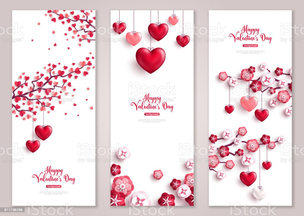 Valentines vertical banners, tree with hearts. vector art illustration