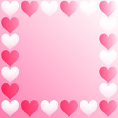 Vector Valentine's Day Card Hearts With Pink Background