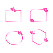 Vector Valentine's-Day-Mother's-Day-Wedding-Banner-Frame-Hearts-Pink