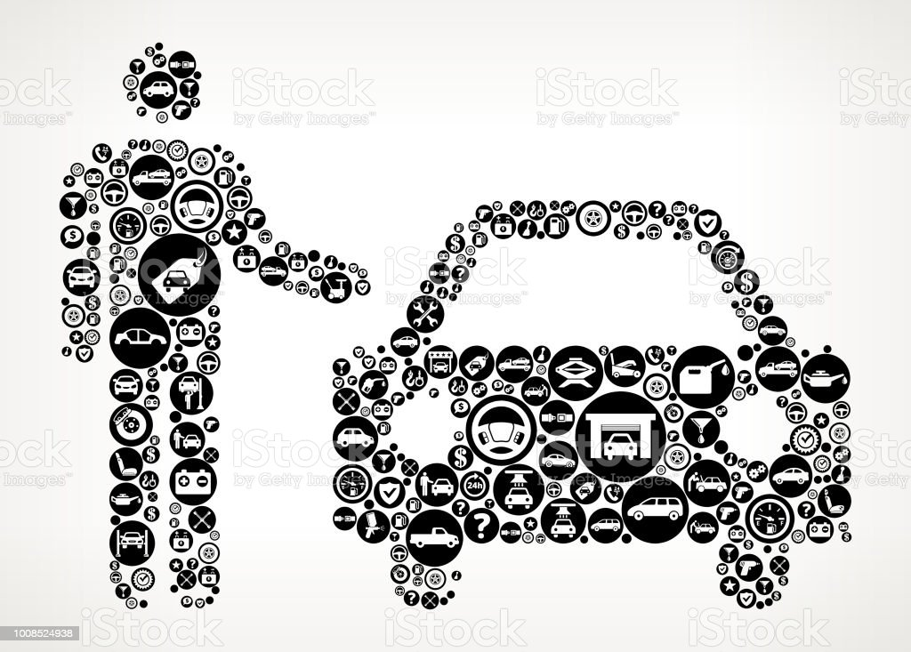 Valet Parking Service Cars And Auto Repair Icon Background