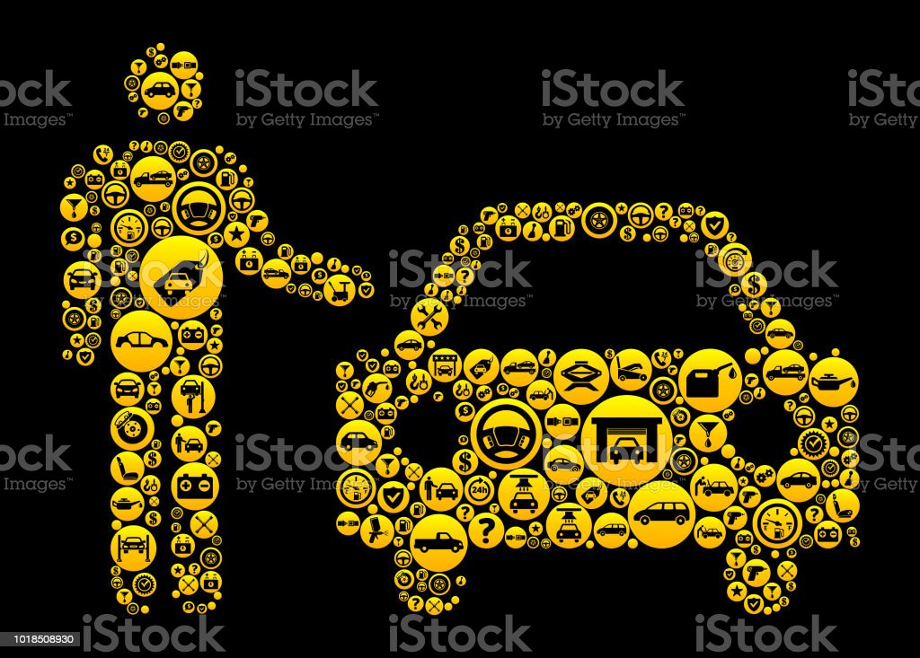 Valet Parking Service Cars And Auto Repair Icon Background Stock