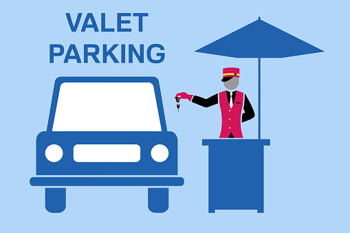 Valet parking signboard desing with valet table and umbrella