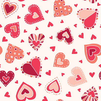 Valetnine's Day Holiday Hand-Drawn Craft Doodle Colorful Hearts Vector Seamless Pattern