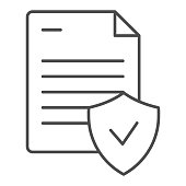 Valid document thin line icon. Approved document vector illustration isolated on white. Note with check outline style design, designed for web and app. Eps 10