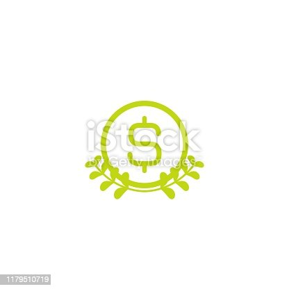 Valid seal with dollar sign and green leaves. Income growth flat icon. Isolated on white. Economy, finance, money symbol. Organic, nature care. Checked stamp. Vector flat illustration.