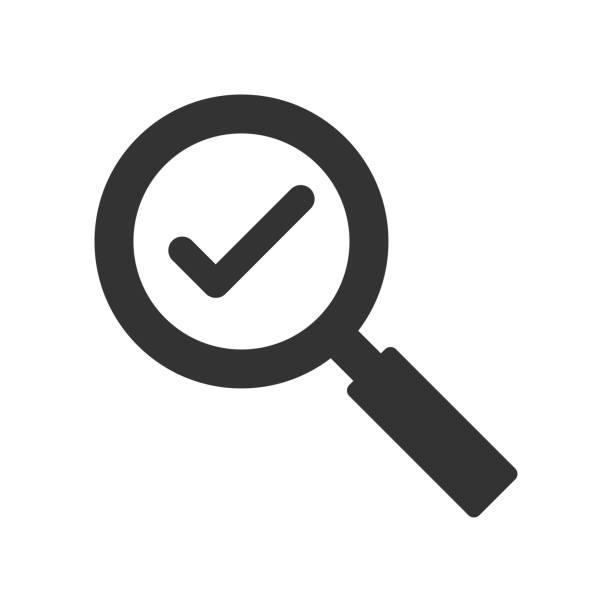 überprüfen des suchsymbols - sucht stock-grafiken, -clipart, -cartoons und -symbole
