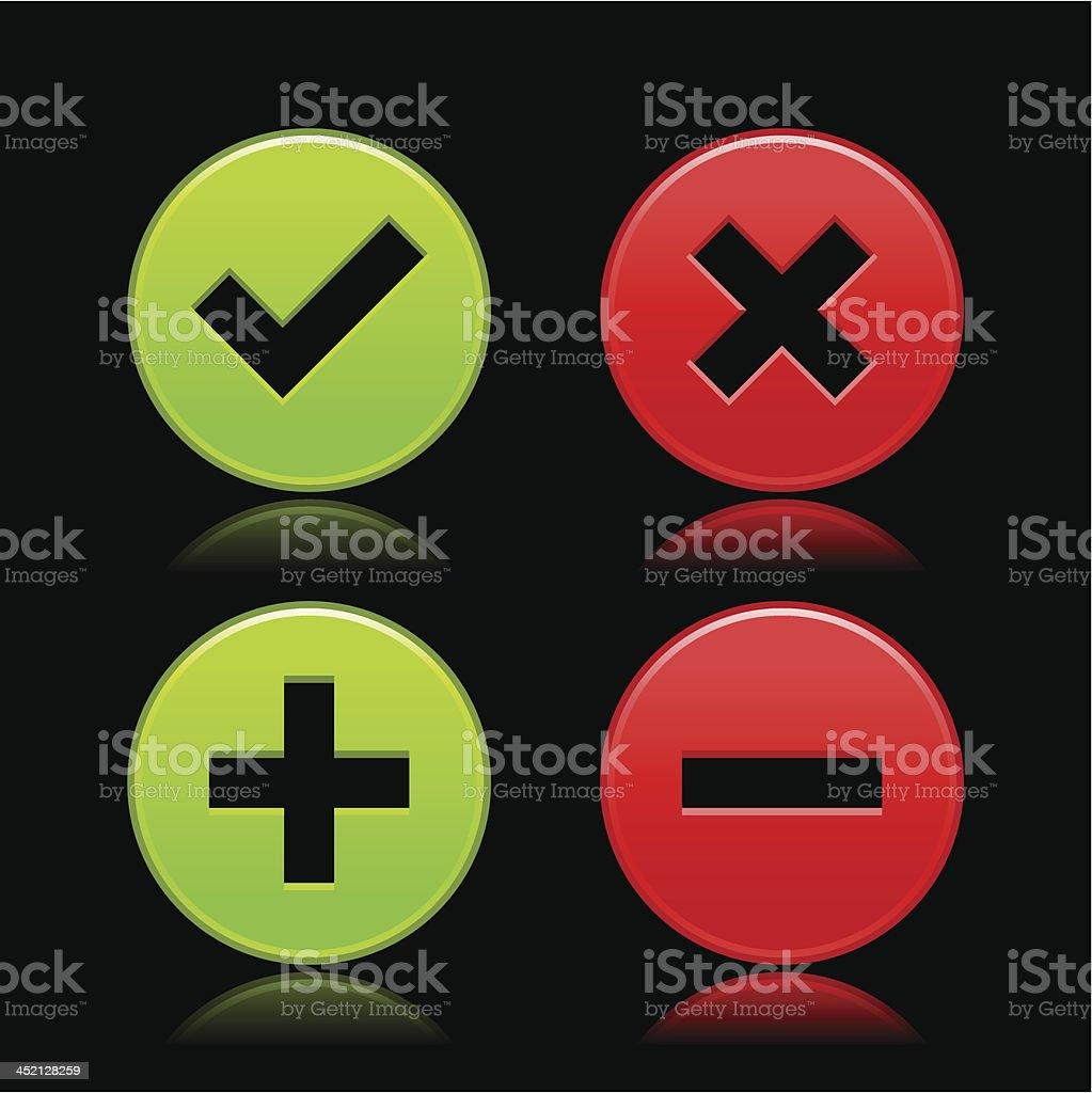 Validation icon check mark delete plus minus sign circle button