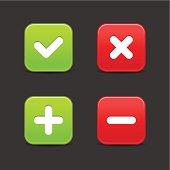 Validation icon plus minus check mark delete sign square button