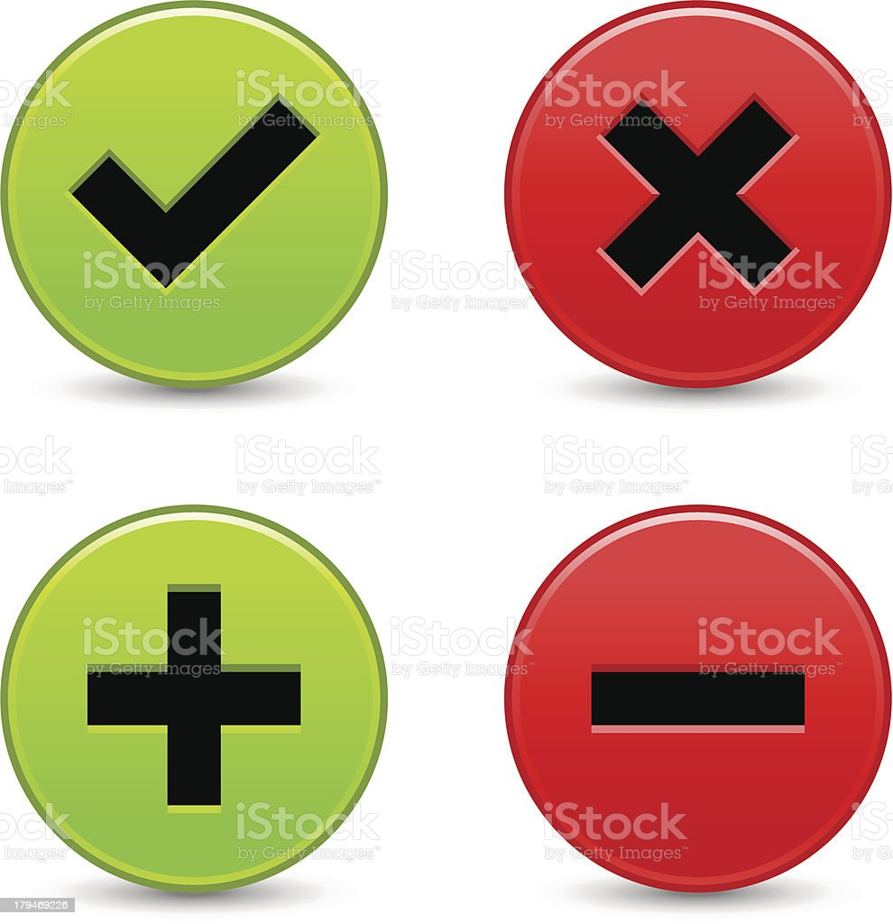Green and red color web buttons with check mark, delete, plus and...