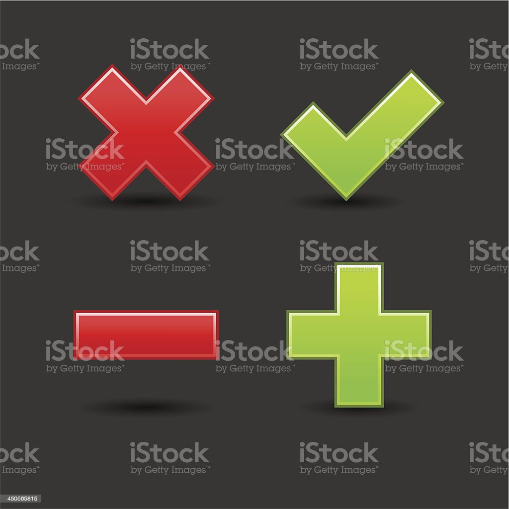 Validation icon set red delete minus green check mark plus royalty-free stock vector art